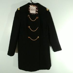 Milly Black Chain Tweed Coat